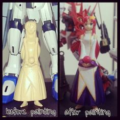 Before and after painting Lacus Clyne, thx to mr.yugo. #lacusclyne #kirayamato #freedomegundam #gundam @Happy Prasetiya