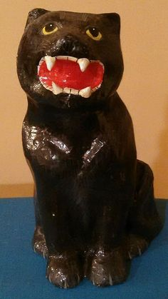 Vintage Paper Mache Halloween Expressive BLACK CAT.