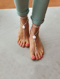 Pearl Barefoot Sandals Beach Wedding Foot Jewelry Beach