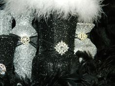 We could do gw outlet .and light it up with battery operated led string lights. Black Centerpieces, Centerpiece Wedding, Pink Silver Weddings, Black Weddings, Bridal Shower Decorations, Wedding Reception Decorations, Angel Baby Shower, Cheer Banquet, Sweet 16 Masquerade