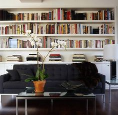 Books behind a sofa in Michael Kors apartment designed by Glenn Gissler
