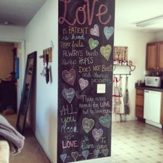 Valentines Day and Love themed chalkboard wall.