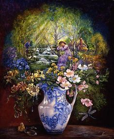 The Water Jug by Josephine Wall  Life is a constant stream of thoughts, feelings and experiences that flows through our days. As the years pass, we gather the most vibrant and meaningful of these to our hearts and keep them fresh in memory, so that the best of them can bloom for us again and again.