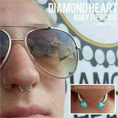 Septum piercing with an Industrial Strength circular barbell and turquoise prong ball ends. Piercing by Lenae Gherardi, Diamond Heart Studios, Flemington NJ. Septum Piercings, Septum Piercing Jewelry, Cool Piercings, Facial Piercings, Piercing Tattoo, Body Piercing, Gauges, Body Jewelry, Jewlery