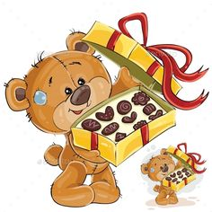Buy Vector Illustration of a Brown Teddy Bear Treats by vectorpocket on GraphicRiver. Vector illustration of a brown teddy bear treats with chocolate candies. Happy Birthday Celebration, Happy Birthday Images, Tatty Teddy, Bear Cartoon, Cute Cartoon, Cute Images, Cute Pictures, Birthday Emoticons, Urso Bear