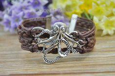 Retro Silver Octopus charm bracelet brown rope by BraceletTribal, $3.99 Beautiful handmade leather bracelet
