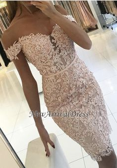 Off-the-Shoulder Sexy Buttons Sheath Lace Short Homecoming Dress_Homecoming Dresses_Special Occasion Dresses_Buy High Quality Dresses from Dress Factory - Newarrivaldress.com