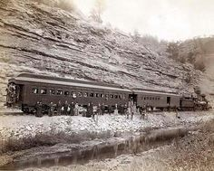 """Old West Train and Passengers - Burlington and Missouri River near """"Hot Springs, SD"""". 1891 by John C. Old Pictures, Old Photos, Vintage Pictures, Ask The Dust, Into The West, Missouri River, Old Trains, American Frontier, Le Far West"""