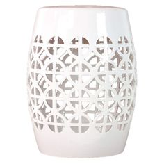 Ceramic garden stool in white with Chinese lantern-inspired fretwork.    Product: Stool    Construction Material: