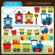 Funny Train Clipart Set by babystardesign on Etsy, $5.00