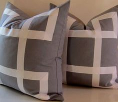 Set of Two - Gray Pillows - 22 inch - Decorative Pillows - White Ribbon embellishment - euro sham Grey Pillows, Throw Pillows, White Bedroom, Master Bedroom, Ribbon Projects, Grey Ribbon, Euro Shams, Learn To Sew, Bed Room
