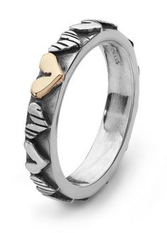 Linda Macdonald Silver & Gold Stripey Hearts Ring