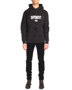 Distressed Logo-Print Hoodie & Five-Pocket Cord Denim Jeans by Givenchy at Neiman Marcus.