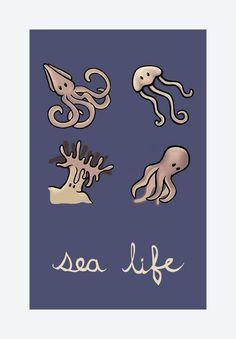 "Children's Art Print: Beach Wall Art, 8""X11.5"" Giclee Digital Art Print - Sea Life"