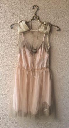 Image of GYpsy goddess Silk blush pink boudoir lace Juliet tulle lingerie dress