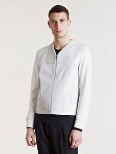 Balenciaga Mens Rib Detail Leather Jacket