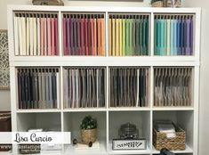 The Best Ikea Kallax Hack with Helpful Cardstock Storage – Lisa's Stamp Studio Ikea Kallax units are perfect for cardstock and designer paper storage. Video tour and lots of details to create your custom craft room. Ikea Craft Storage, Pegboard Craft Room, Craft Room Closet, Ikea Craft Room, Craft Room Decor, Cricut Craft Room, Craft Rooms, Craft Organization, Craft Space