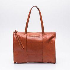 Sac shopping, cuir marron clair 39 x 29 x 5 cm