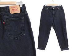Sz 14 90s Black Levi's 550 High Waisted Mom Jeans