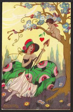 Artist: Signed Chiostri (Sofia Chiostri) Description: This vintage Art Deco postcard depicts a lady in a peacock dress and Cupid above her in the tree. Publisher, Series and Card Number: Ballerimi &