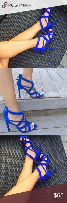 "1 DAY SALEZARA Royal blue strappy heels Brand new with tags. Size 36, back zip. 4"" heel.   ✋Price Firm ❌NO Trades❗️  Non smoking home  Please ask about shipping dates!  Zara Shoes Heels"
