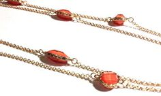 Melon Jewel-Dotted Long Necklace and Earring Set via aladyloves.com