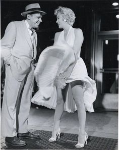 """Marilyn on the set of """"The Seven Year Itch"""" 1954 with co-star Tom Ewell"""