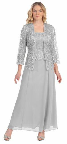Long Chiffon Silver Mother of Groom Dress Lace Long Sleeve Jacket