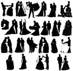 Newly Married Couple Silhouettes Free Vector