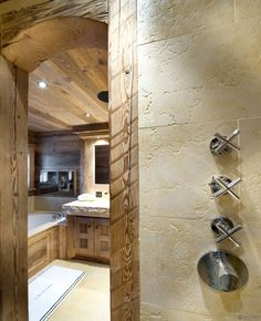 Architecture, Ski Chalet Resort with Traditional Style : Concrete And Wooden Interior