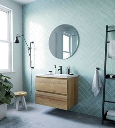Ben Mirano ronde spiegel Ø Modern Bathrooms Interior, Modern Bathroom Design, Bathroom Interior Design, Interior Modern, Interior Ideas, Interior Architecture, Modern Design, Bathroom Photos, Bathroom Wallpaper