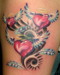 Heart with Angel Wings Tattoo | Angel Tattoo Design Studio, Heart Wings Tattoo Designs On Foot: Hearts ...