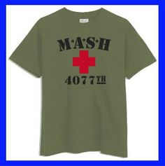 MASH 4077th Red Cross Military Green TShirt by CasualApparel, $7.95