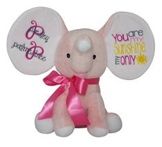 Check out this item in my Etsy shop https://www.etsy.com/listing/262455130/personalized-dumble-elephant-new-baby