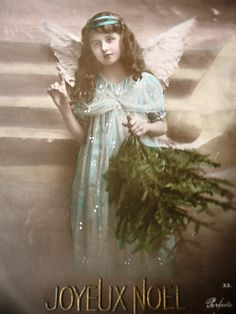 Antique angel postcard - Wings angel girl, Edwardian dress, Christmas pine…