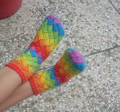 DIY Rainbow Color Patch Knitted Socks 6
