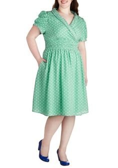 Conversation over Cocktails Dress in Mint - Plus Size in  from ModCloth on shop.CatalogSpree.com, your personal digital mall.