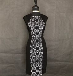 """This is a very cute little Cache brand cocktail dress. The dress is black and white, sleeveless, mid-calf length with a rounded neck line. The dress is a size 10 with the following measurements:    Length 39.5""""    Bust 36"""" - 43"""" (expandable material)    Watst 31"""" - 42""""(expandable material)    Hips 36"""" - 46"""" (expandable material)    This item ships immfiately! 📦 Also available for local try on and pick up in Sacramento, CA.     