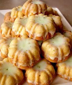mini bundt cakes with lime glaze.