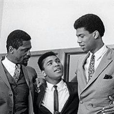 Bill Russell and Kareem Abdul Jabbar with Muhammad Ali. They stood with Muhammad during his refusal of the draft, several Black athlete stars of that day did. Jim Brown was another. Thank you all for speaking up for our. Muhammad Ali, Dodgers, Bill Russell, Kareem Abdul Jabbar, Jim Brown, Float Like A Butterfly, Black Photography, Sport Icon, Sports Figures