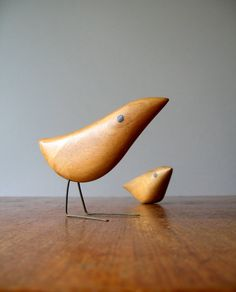 mid century Danish modern carved wooden birds. Luola shop