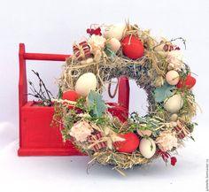 Купить Красный пасхальный венок - ярко-красный, Пасха, венок, пасхальный венок, яйца