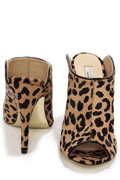 Chinese Laundry Lucky Leopard Pony Fur Tan Mules at LuLus.com!
