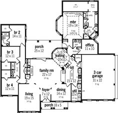 Mediterranean Style House Plans - 2982 Square Foot Home , 1 Story, 4 Bedroom and 3 Bath, 3 Garage Stalls by Monster House Plans - Plan 30-331