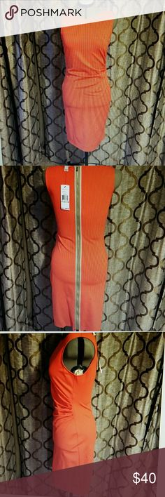 Kennett Cole Coral sheath dress Beautiful and stylish,  ruched side with back zipper to a style and flare.  Worn 1-2 times. Would like great for the Spring,  just in time for Easter. Rayon, nylon and spandex blend  wear to the office and go right into dinner!! Kenneth Cole Dresses
