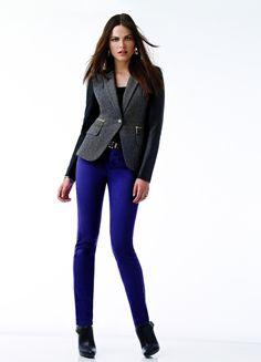 MICHAEL Michael Kors® tweed & faux leather blazer and skinny jeans #michaelkors