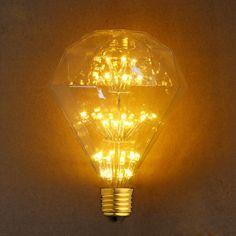 E27 LED Edison Bulb 3W 2300K Warm Yellow G95 Diamond Style 110V/220V