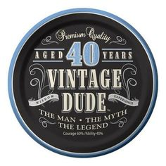 "Creative Converting 8 Count Vintage Dude 40th Birthday Round Dessert Plates. Designed paper dessert plates are 6.75. diameter, coated for durability & no mess clean up and come 8 plates to a package. Round dessert plates boast the guest of honor as ""the man, the myth, the legend"". A perfect size for finger foods, appetizers and scrumptious party bites, these plates profess the guest of honor as .the man, the myth, the legend"" and will make a big hit when he turns the big 4-O.Like a..."
