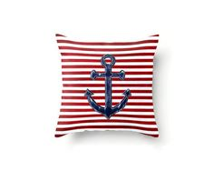 Anchor Pillow Cover Nautical Pillow Cover Red by FischerFineArts