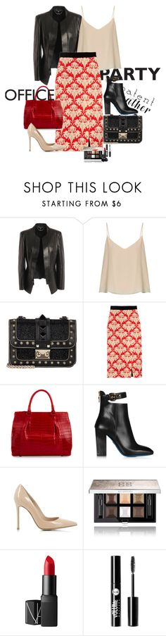 """""""Leather can change evrything"""" by claire86-c ❤ liked on Polyvore featuring Alexander McQueen, Raey, Jonathan Saunders, Nancy Gonzalez, Loriblu, Gianvito Rossi, Givenchy, NARS Cosmetics, Charlotte Russe and contest"""